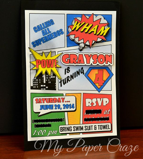 Superhero Comic Book Party Invitation with Free Printable by My Paper Craze