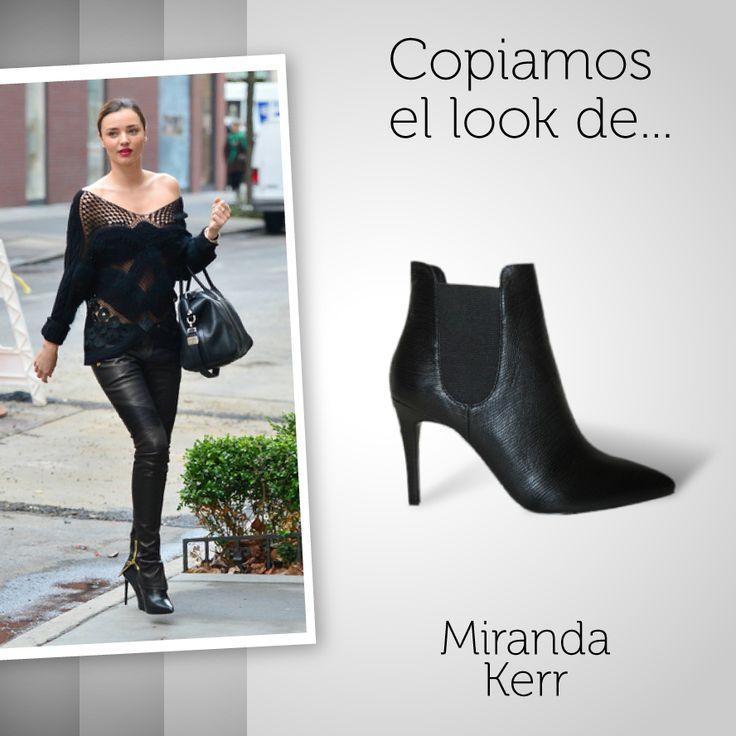 Esta semana copiamos el #look de Miranda Kerr, y combinamos su #blackstyle con uno de nuestros #botines negros ¿Qué os parece? Podéis conseguir los botines aquí