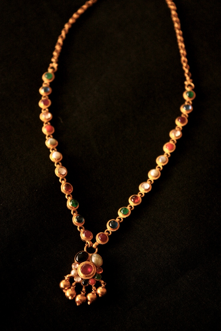 Gold necklace designs in grt jewellers - Design Alert A Simple Navaratna Necklace South India Jewels