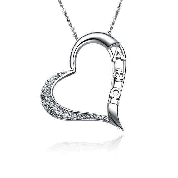 Alpha Phi Omega Lavalier Embedded Heart Design Sterling