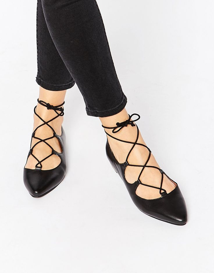 Image 1 of Warehouse Pointed Ghillie Lace Up Flat Shoes