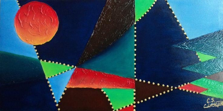 La Mente Técnica: Óleo, texturizador y vinilo sobre lienzo. Dimensiones: 100 cm. x 51 cm.