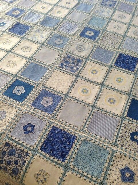 Fabric Crochet Quilt | Crochet Blankets, Squares, Throws ...