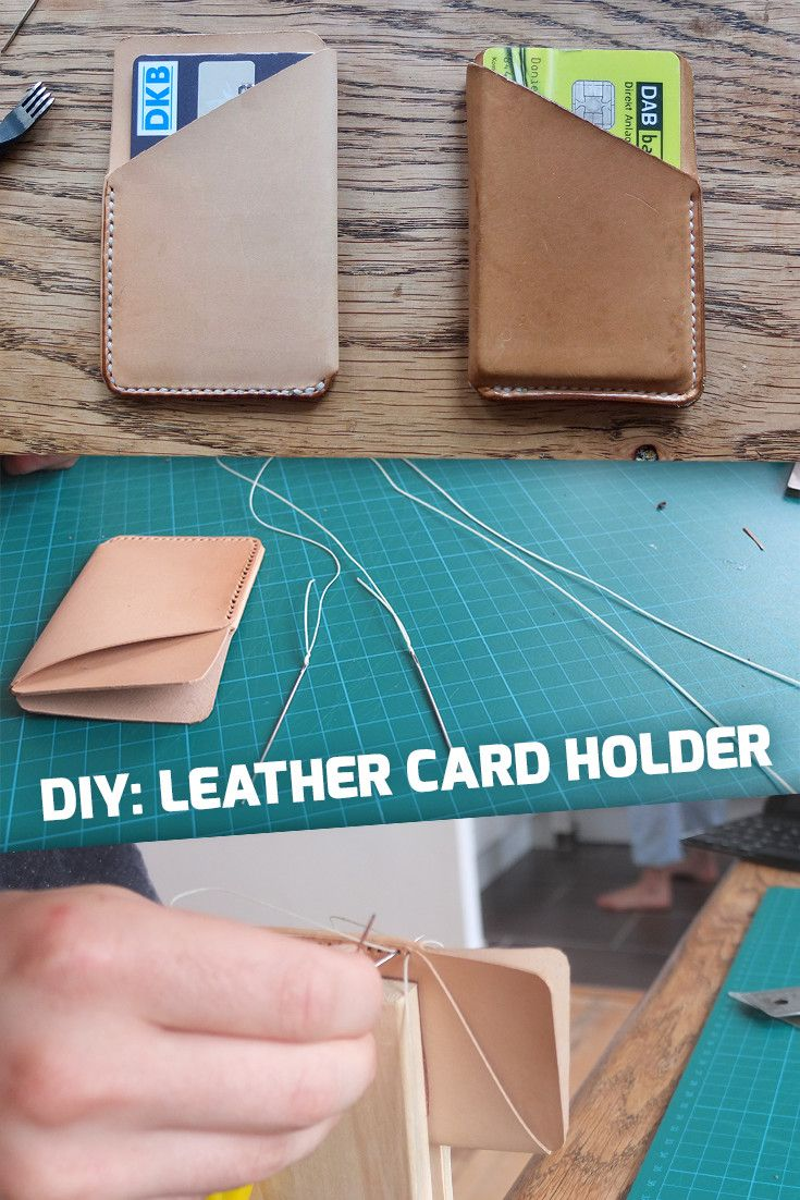 How-To: Small leather card holder DIY Handmade Leather Wallet for Men and Women (and Hipsters). Perfect for Credit Cards.