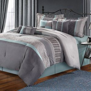 Luxury Home Emory Enbroidered 8 Piece Comforter Set
