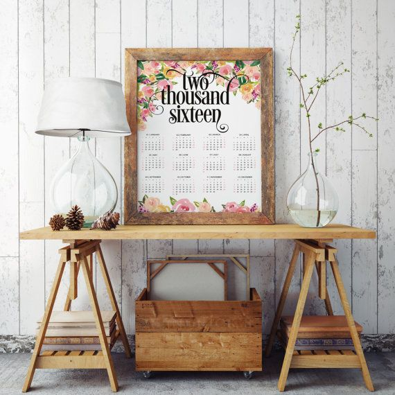 2016 printable calendar yearly organizer. Please note: The dimensions of the pages is 11 x 16 (A3) size so you can have big, beautiful and