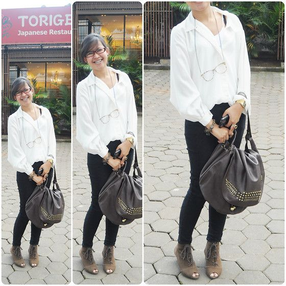 Classic Chiffon Shirt, Mango Black Skinny Pants, Kitschen Glasses Necklace, Vincci Brown Studded Bag, Misyelle Lace Peep Boots, Casio Gold Watch, Pinotch12 Gorgeous Bracelet