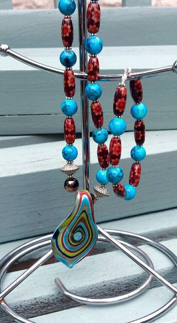 Beaded necklace and bracelet set https://www.etsy.com/uk/listing/242960176/necklace-and-bracelet-set-glass-and