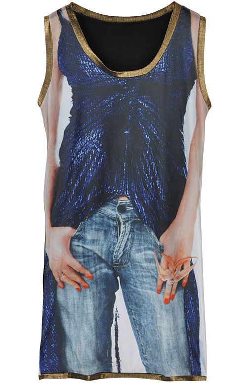 Blue Sleeveless Jeans Character Print Dress