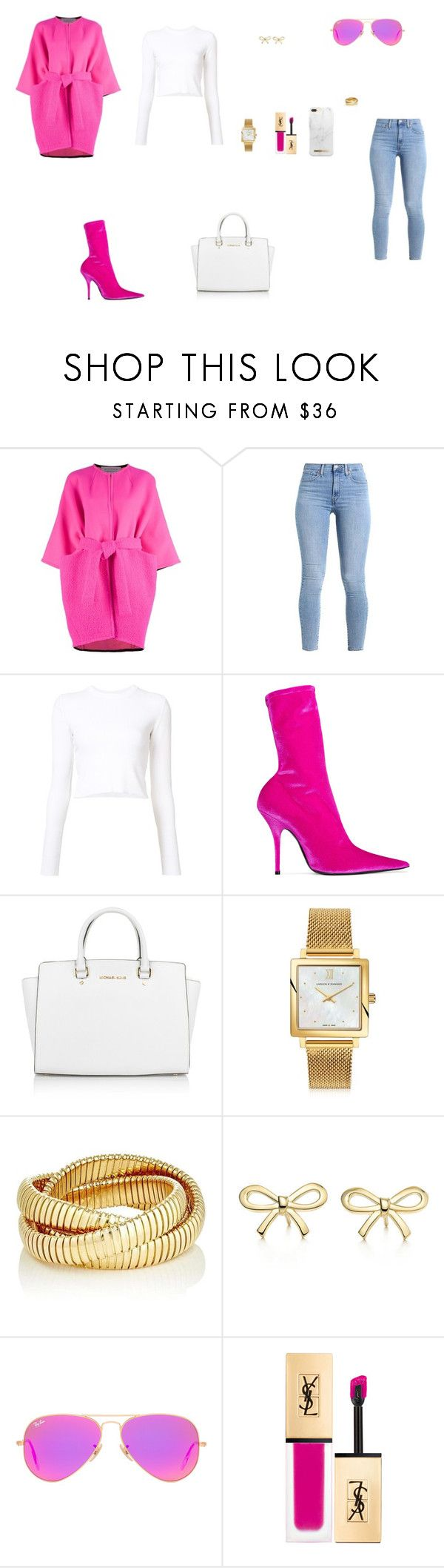 """Look do Dia"" by julianaf1609 ❤ liked on Polyvore featuring Gianluca Capannolo, Proenza Schouler, Balenciaga, Michael Kors, Larsson & Jennings, Sidney Garber, Tiffany & Co., Ray-Ban and iDeal of Sweden"