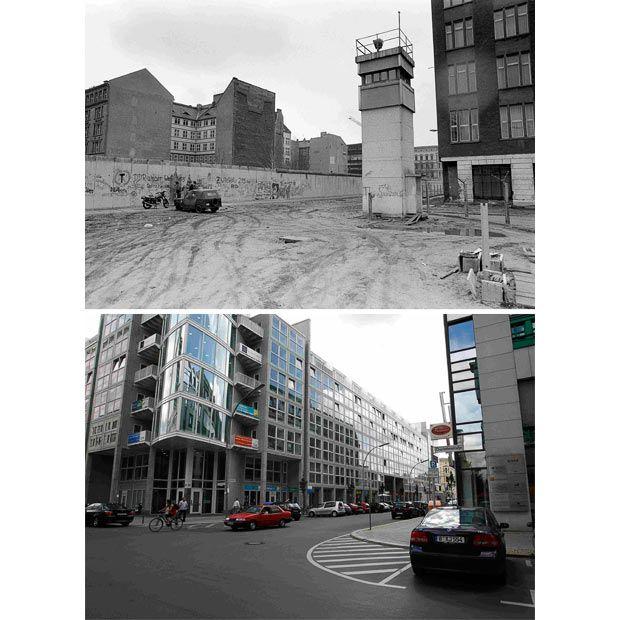 Berlin | Geteilte Stadt. Zimmerstraße / Charlottenstraße, in der Nähe der Allied Checkpoint Charlie am 10. März 1990. Unten: die gleiche Szene heute