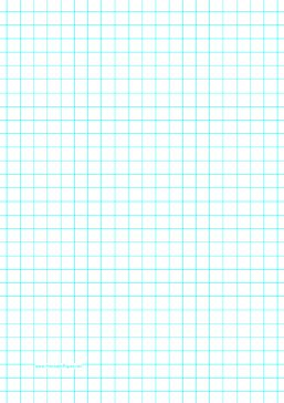 This A4 graph paper has one aqua blue line every centimeter. Free to download and print