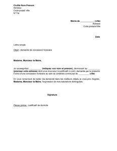 Lettre de demande de concession funéraire auprès du maire - modèle de lettre gratuit, exemple de lettre type | Documentissime