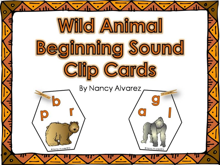FREEBIE Wild Animal Beginning Sound Clip Cards.  Perfect for Prek or struggling kindergarteners.