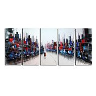 Hand-Painted+Art+Wall+Decor+Crazy+World+Oil+Painting+on+Canvas++5pcs/set+(Without+Frame)+–+GBP+£+43.67
