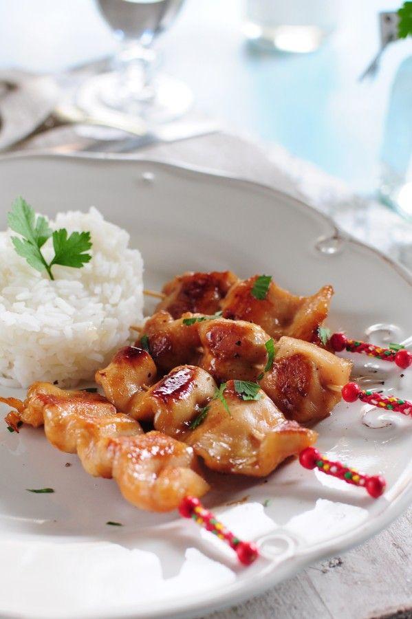 brochettes de poulet caramélisées