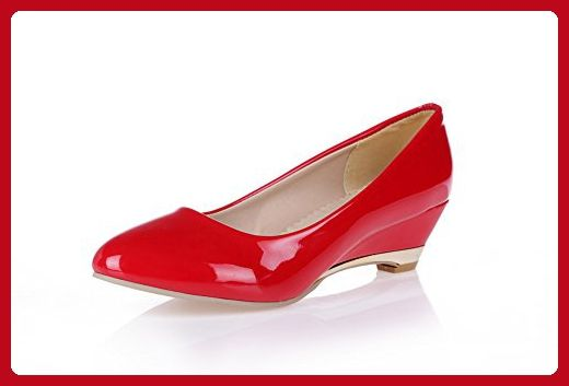 Lucksender Womens Pointed Toe Wedge Low Heel PU Soft Material Solid Pumps 10B(M)US Red