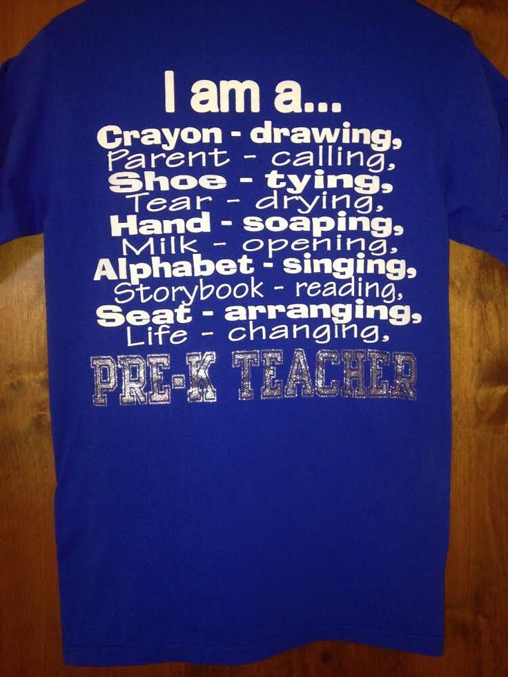 Pre-K Teacher Spirit Shirt..Sizes S-XXL by CrownsAndCurls on Etsy https://www.etsy.com/listing/207021847/pre-k-teacher-spirit-shirtsizes-s-xxl
