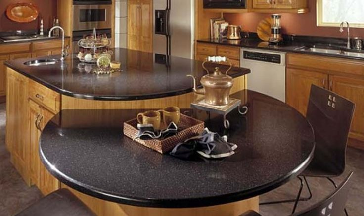 Kitchen : Amazing Kitchen Island Design With Golden Maple Base And Black Granite Coutertops Connected Raised Round Table Breakfast Bar 50 Awesome Kitchen Island Design Ideas Yellow Backsplash. Open Shelves Kitchen Island. Oval Countertop.