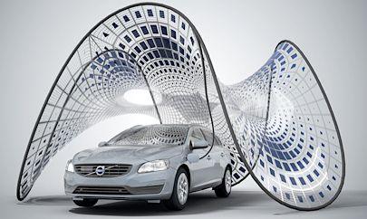 Opvouwbaar zonnecel-paviljoen voor elektrische auto's | B R I G H T