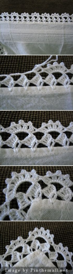 Crochet edging with corner ༺✿ƬⱤღ  https://www.pinterest.com/teretegui/✿༻