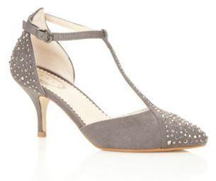 Debut Dark grey rhinestone T-bar mid court shoes on shopstyle.co.uk