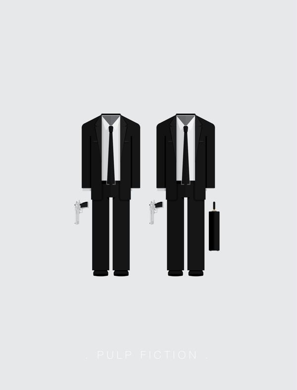Minimalist cult movie posters are all about the costumes. Pulp Fiction, in this case.