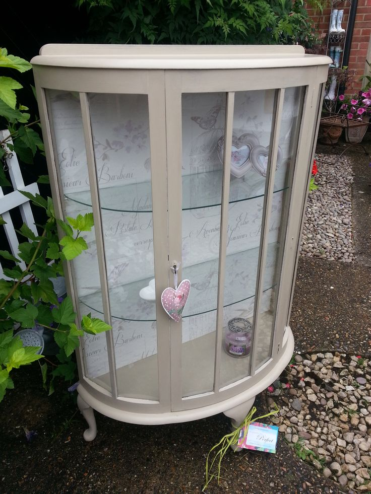 Beautiful bow fronted display cabinet in Annie Sloan country grey with french wallpaper back . . . if you like this, you'll love https://www.facebook.com/pages/Imperfectly-Perfect/244408645753883?ref_type=bookmark