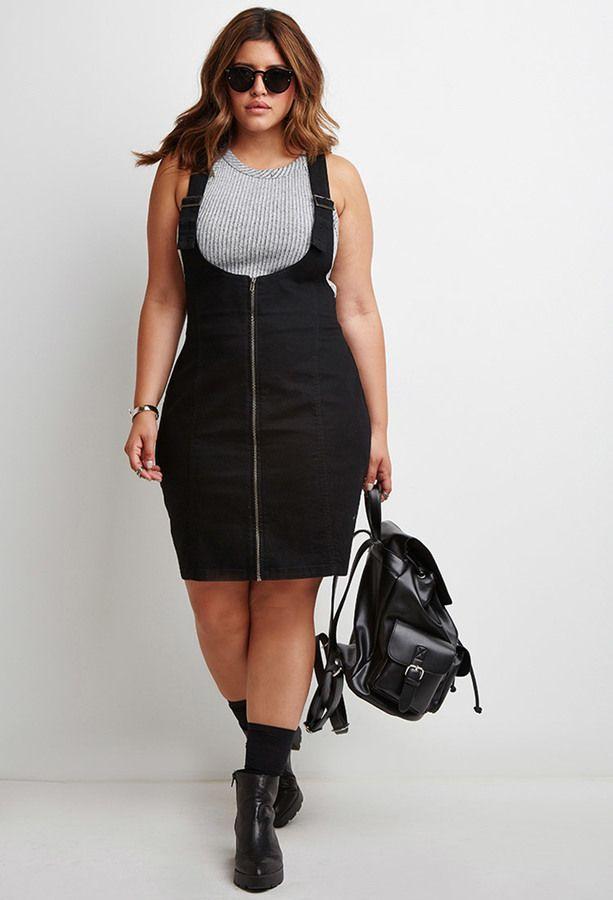 Plus Size Zipped Denim Overall Dress | Plus Size Fashion | Fashion ...