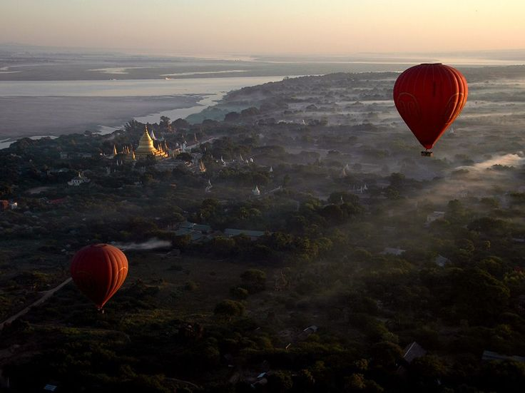 Floating over the 2,300 temples at dawn in Bagan, Myanmar, at Christmas, 2010