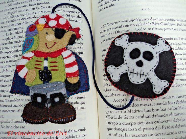 Fieltro - marcapaginas pirata - hecho a mano por Zivile-1 en DaWanda