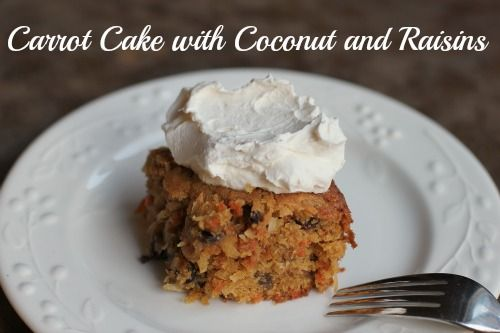 Carrot Cake with Coconut and Raisins Recipe on $100 A Month at http://www.onehundreddollarsamonth.com/carrot-cake-with-coconut-and-raisins/