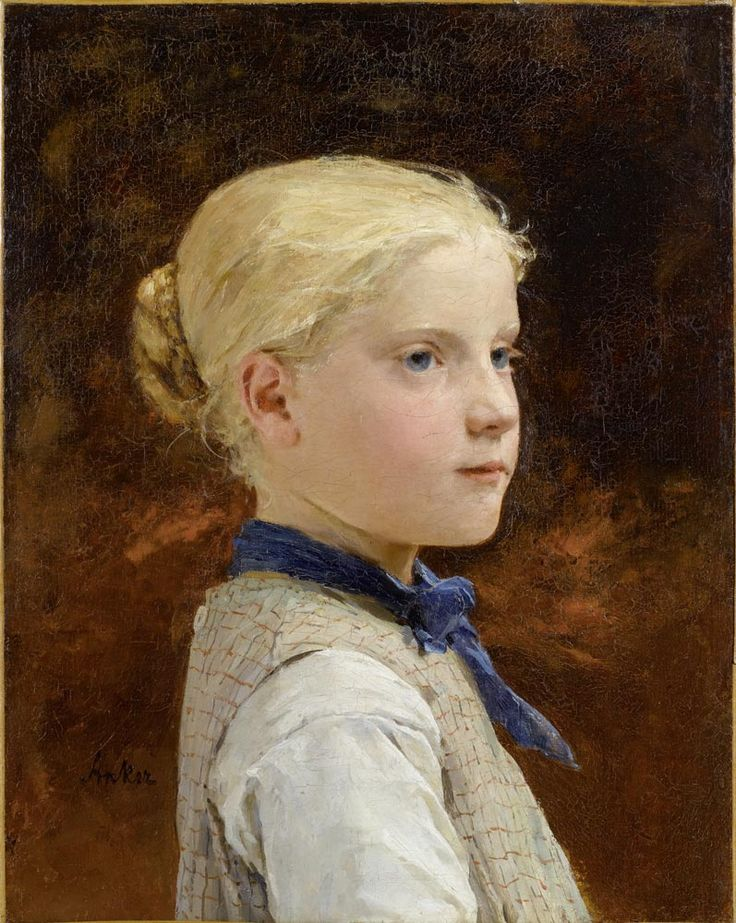 """https://flic.kr/p/cUMWU3   Albert Anker 'Portrait of a girl' 1899   Albert Samuel Anker  [Swiss painter 1831-1910]  Ancher been called the """"national painter"""" of Switzerland because of his enduringly popular depictions of 19th-century Swiss village life. Biography: da.wikipedia.org/wiki/Michael_Ancher  Oil on canvas"""