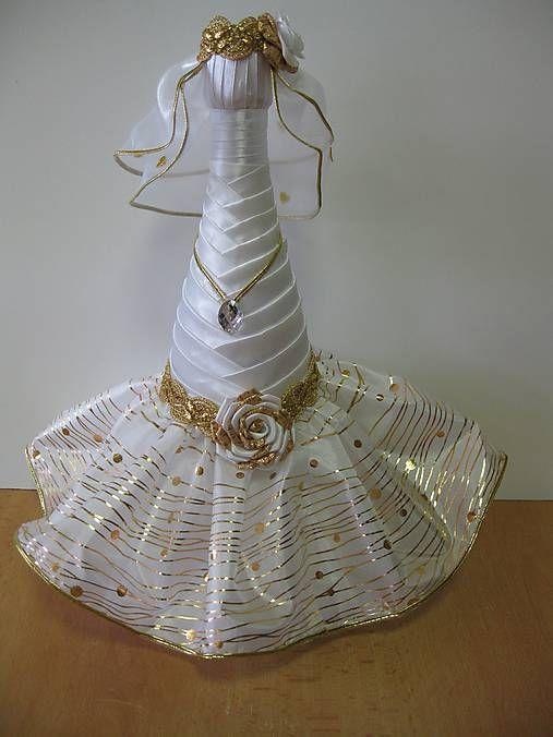 Svadobná fľaša nevesta - zlatá