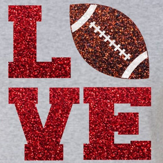 Glitter Football LOVE Iron On  LOVE Football by IHeartHoundstooth