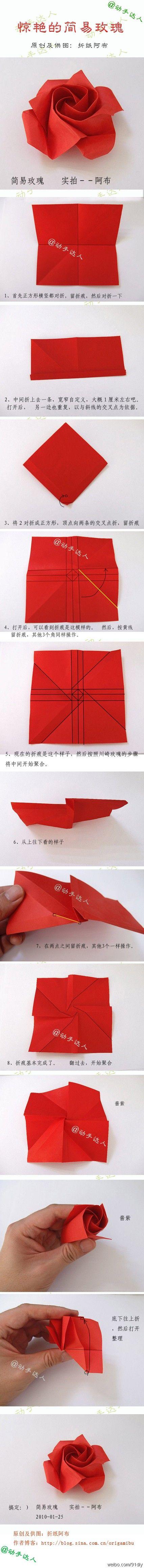 Origami red rose paper flower DIY Tutorial  Valentine's day lovers Easy Cheap Inexpensive gift  Rosa roja flor de papel Papiroflexia facil barata regalo San Valentin enamorados para colocar en paquete de regalo