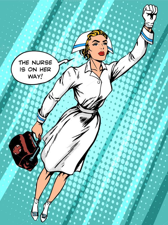 Super hero nurse flies to the rescue by studiostoks on @creativemarket