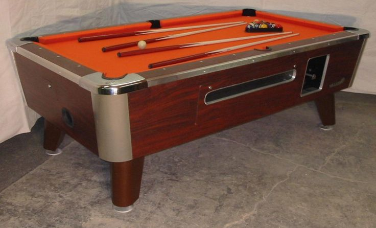 Two Valley Cougar Commercial 7' Coin-op Bar Size Pool Table Model Zd-4 In Orange