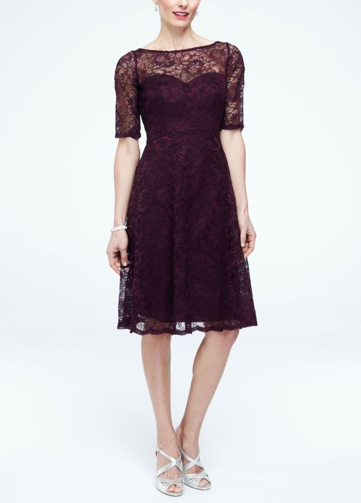 Short Lace Dress with Illusion Neck and Sleeves - David's Bridal