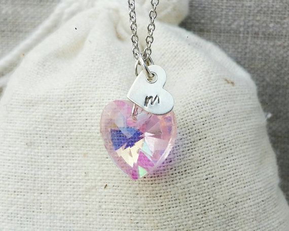 Check out this item in my Etsy shop https://www.etsy.com/ca/listing/476646143/kids-initial-heart-necklace-kids-pink