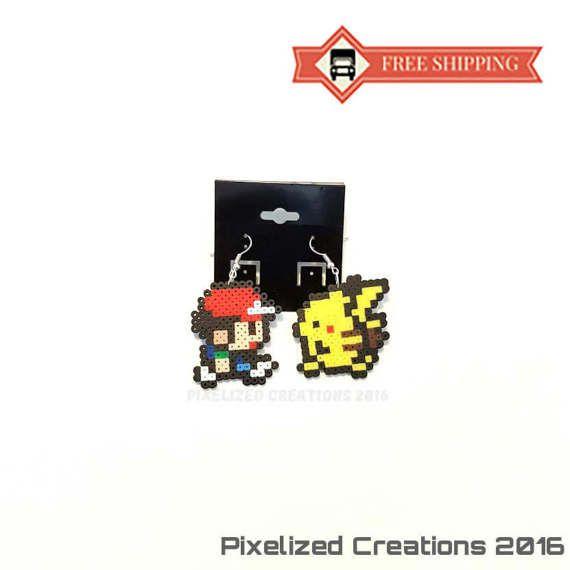 Pokemon Inspired Ash & Pikachu Hook Earrings Set