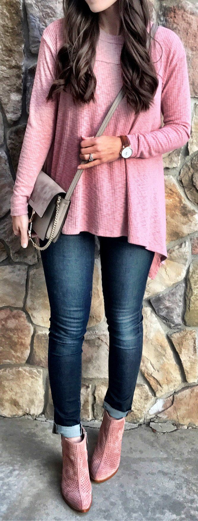 lovely spring outfits /  Pink Knit / Grey Suede Shoulder Bag / Bleached Skinny Jeans / Pink Suede Booties