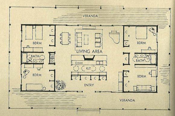 สุดยอดดด//Interesting and efficient mid century floor plan - w/ a few changes could be a great space for modern living
