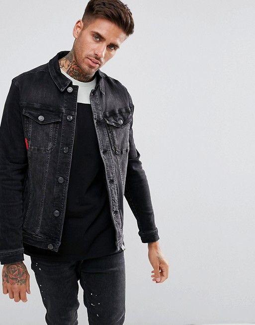 ebf95f88f8fb 11 Degrees denim jacket in black muscle fit in 2019 | asos men ...