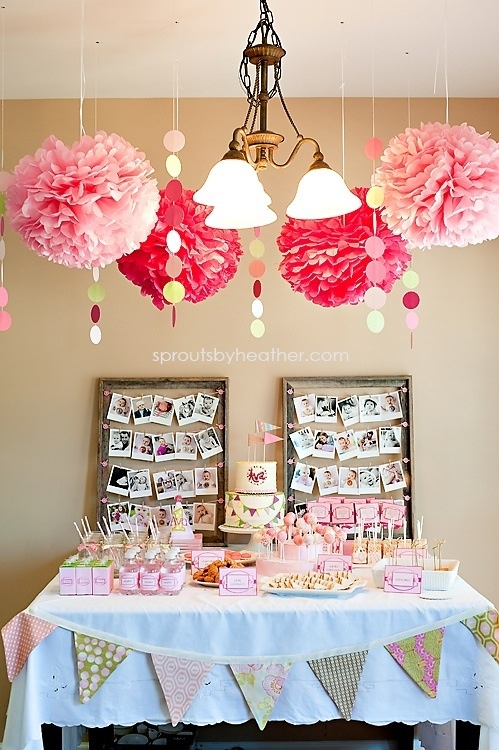 Lolly table pink stuff like the photo board. Pom poms rule
