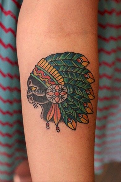 Tattoo by Jacek Minkowski - traditional style indian head ...