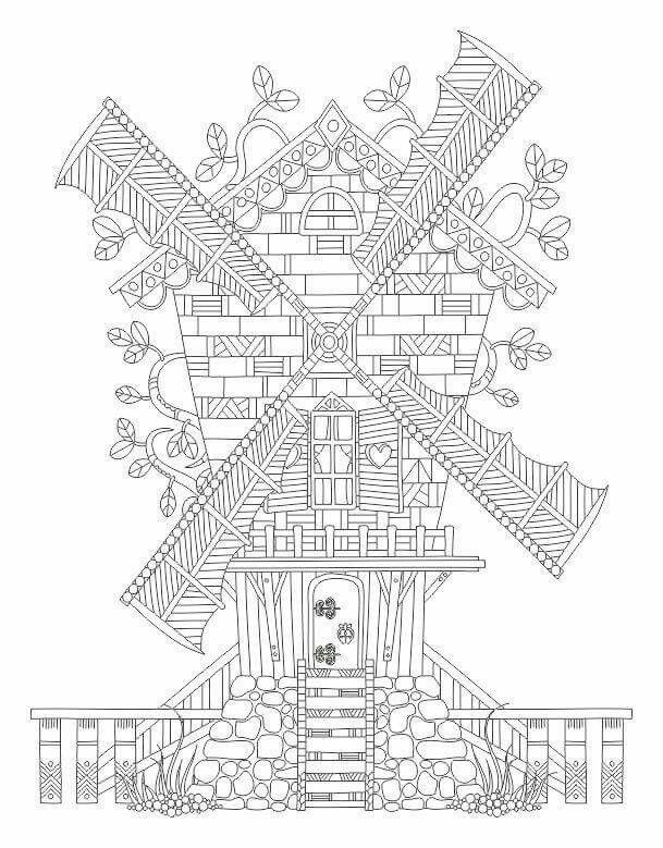 Dutch Windmill Coloring Page Coloring Coloring Pages