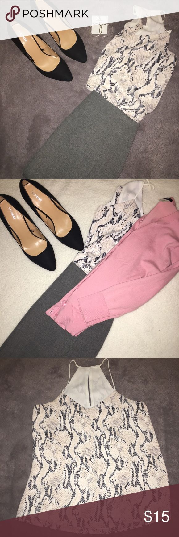 Express Gray and Pink Snakeskin Tank Express Gray and Pink Snakeskin Tank. Size Small. Gently used. Pairs great with a gray skirt, pink sweater for work, and black pumps for the office!! All items pictured are also for sale in my closet😊 Express Tops Blouses