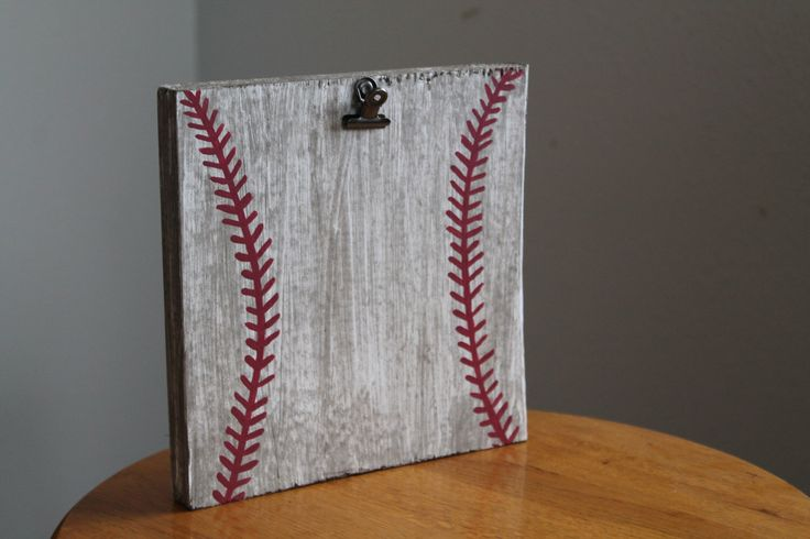 Rustic Baseball Picture Display by LaceysWoodWorks on Etsy https://www.etsy.com/listing/244774426/rustic-baseball-picture-display
