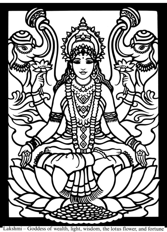 saraswati coloring pages - dover children 39 s sampler hindu gods and goddesses